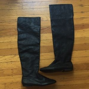 Zara over the knee snakeskin Leather Boots